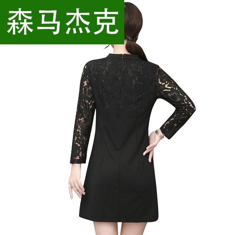 森马杰克初秋女装2017新款韩版时尚气质秋款低领改良旗袍裙显瘦长袖图片