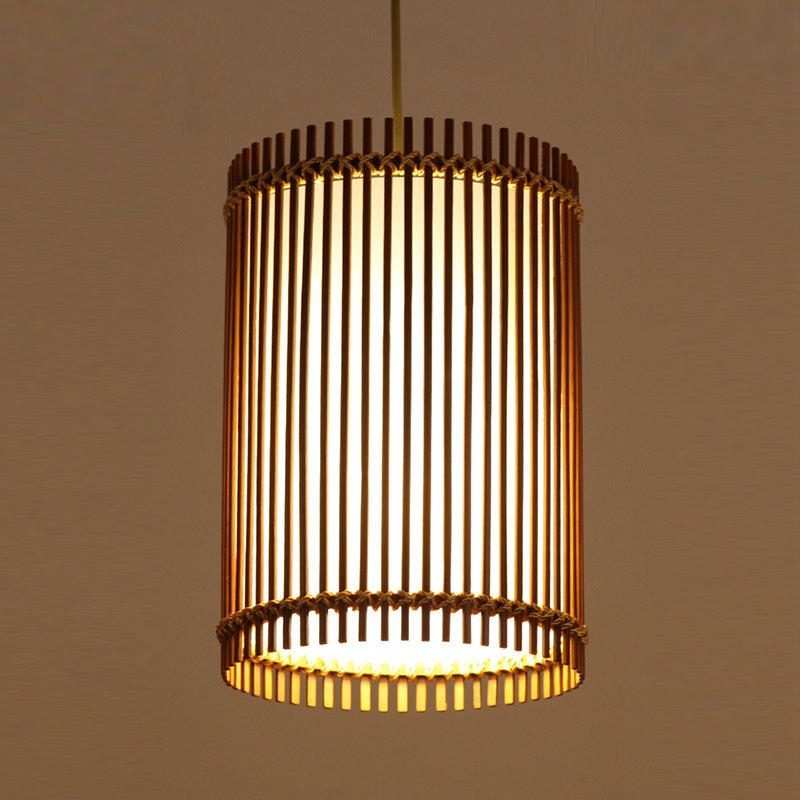 舒厅创意家居 吊灯日式餐厅竹灯罩手工编织鸟笼灯笼复古竹吊灯笼酒店