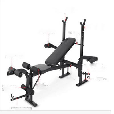 室内多功能家用仰卧板举重床杠铃架卧推架力量训练器健身器材 黑色