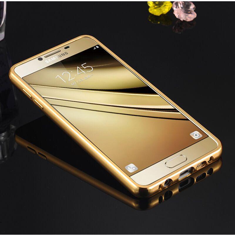 特七【送钢化膜】三星c5手机壳保护套/金属边框镜面后盖硬壳/5.