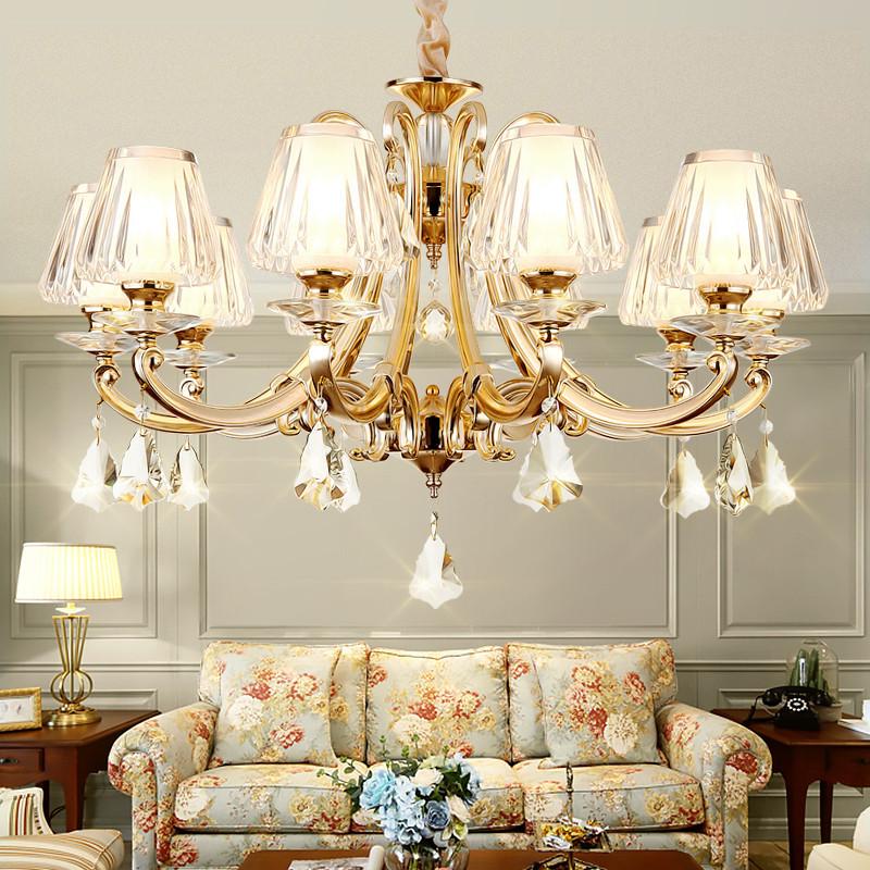 琪朗燈飾歐式水晶客廳吊燈現代大氣餐廳燈簡約臥室燈合金燈具0706