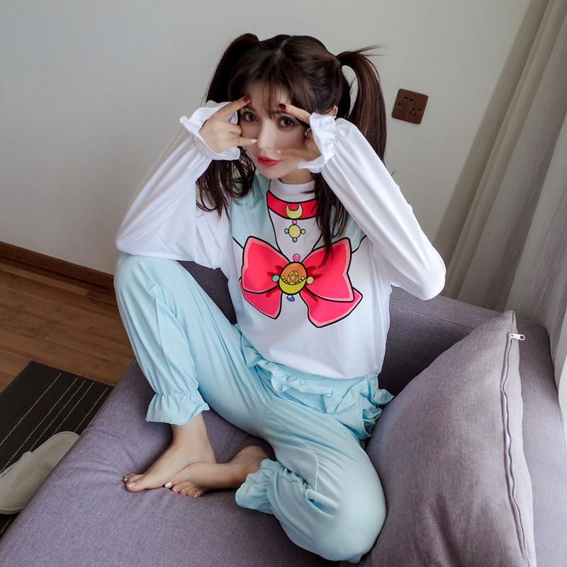 110新款美少女纯棉少女可爱卡通睡衣软妹女生衣服战士画图片动漫大全图片
