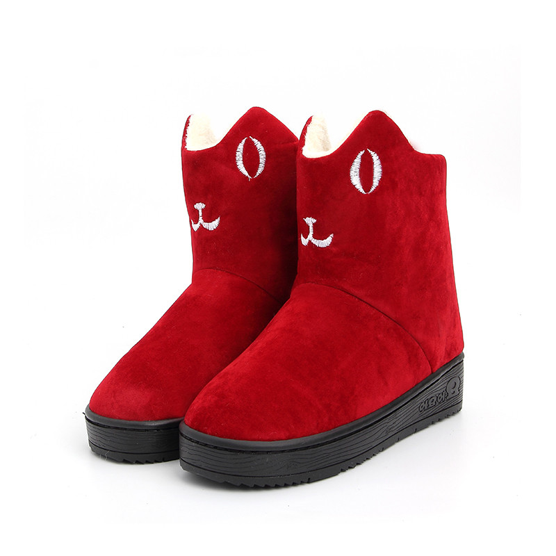 qmfs新款猫咪女鞋女平底冬季韩版可爱学生棉靴加绒保暖雪地靴短筒卡通图片