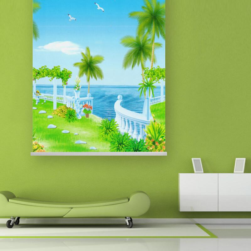 大自然風景全遮光窗簾防水遮陽防紫外線拉式卷簾2.3米高f