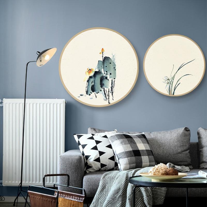 圆形实木壁饰水墨禅意花卉国画新中式客厅装饰画卧室玄关过道挂画图片