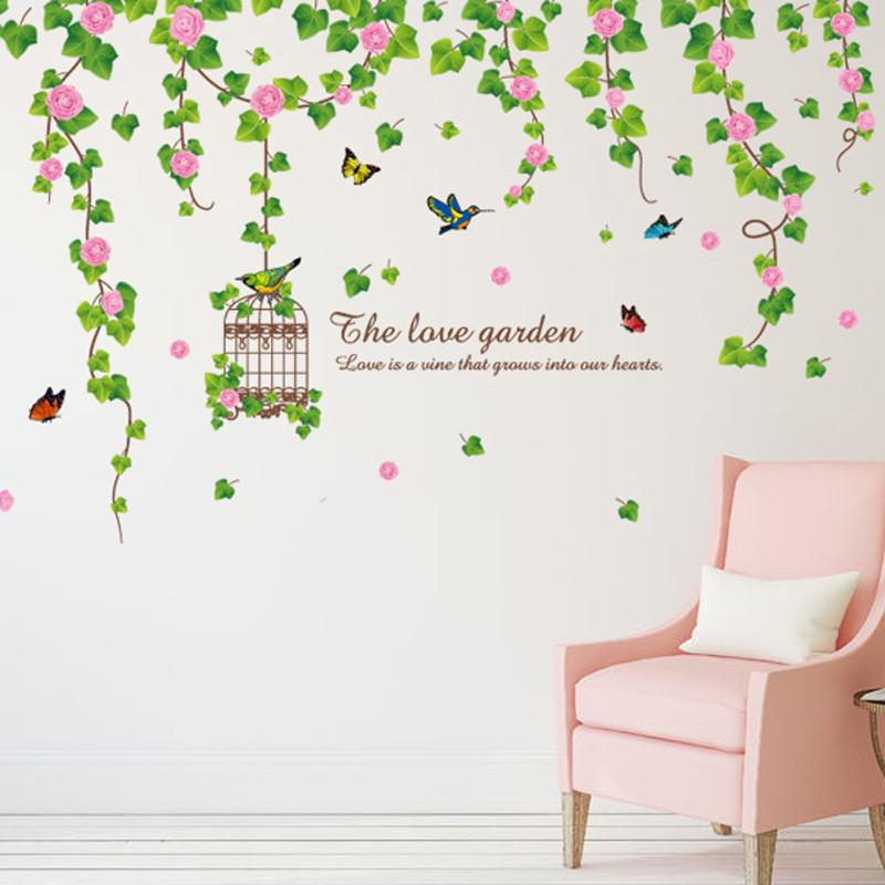 客厅沙发背景墙壁壁画可移除墙贴纸贴画绿色环保清新装饰树枝鸟笼