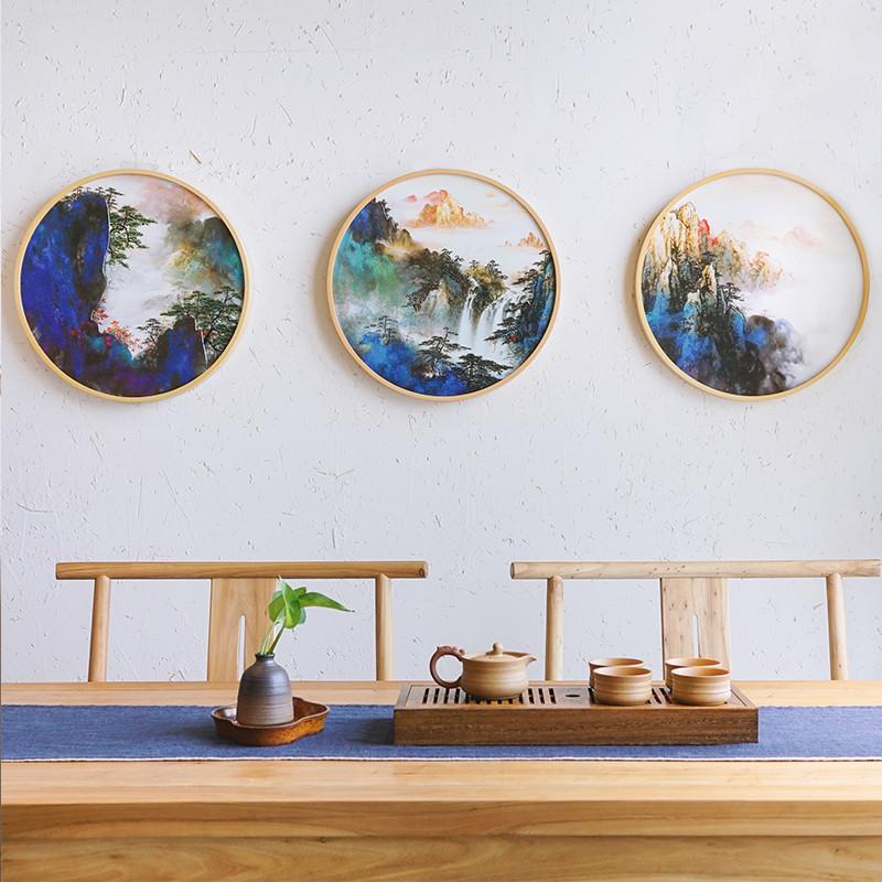 新中式木雕圆形装饰画手工立体雕刻工艺客厅餐厅茶楼挂画图片