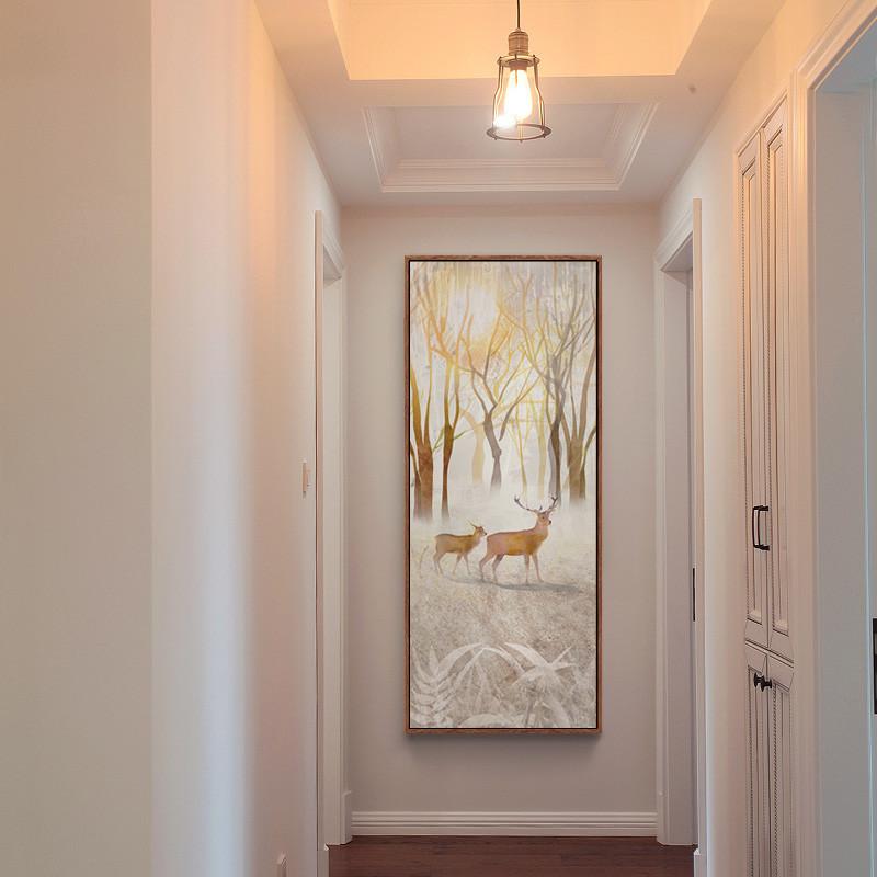 孔雀单幅客厅壁画 招财装饰画 现代简约玄关走廊过道竖版挂画