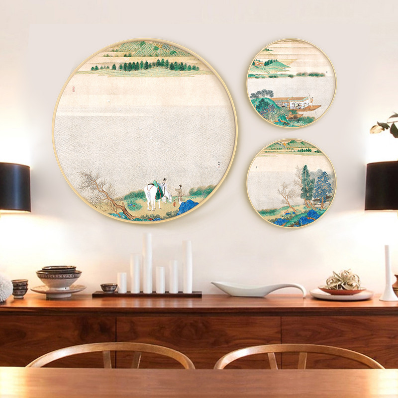 实木圆形 新中式山水画客厅装饰画 玄关水墨国画书房挂画风景壁画