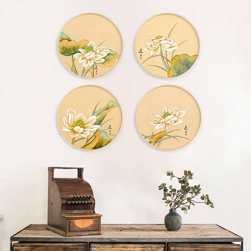 新中式圆形装饰画客厅挂画国画 现公室壁画墙画荷花三联有框