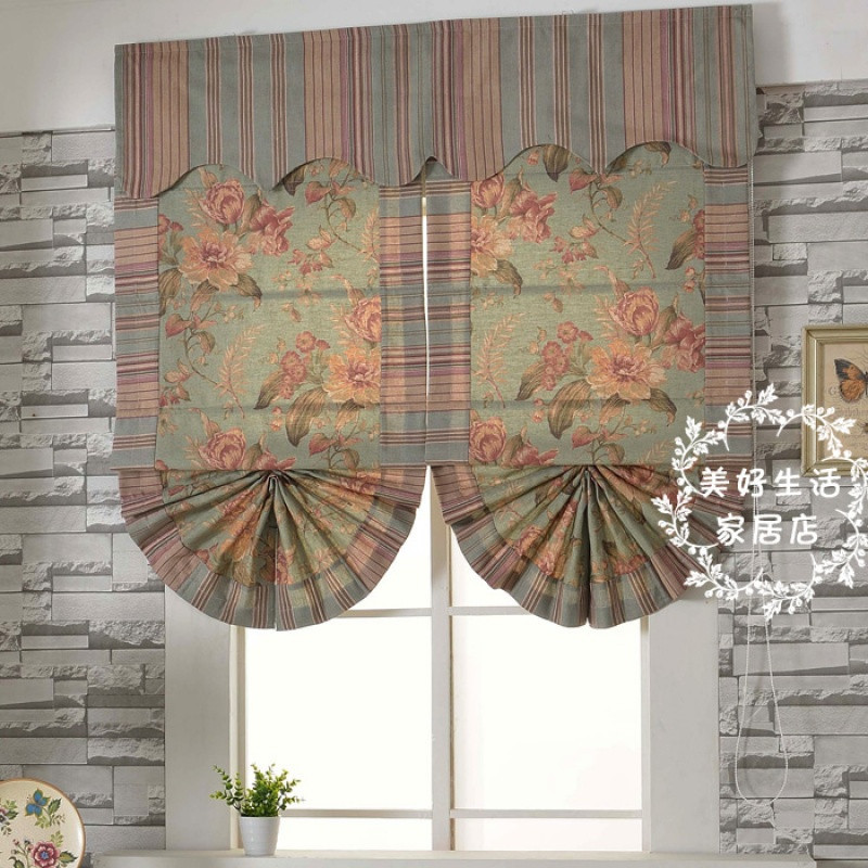 花间 美式窗帘乡村怀旧风格扇形罗马帘 升降帘 阳台卧室飘窗帘
