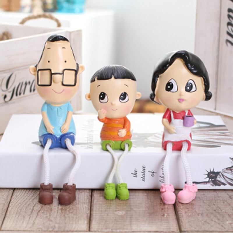 卓品佳大头儿子小头爸爸一家三口吊脚娃娃 可爱家居装饰品卡通树脂
