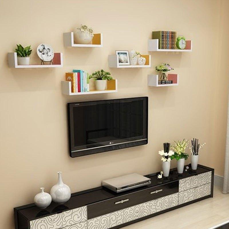 卓品佳一字形人造板墙上置物架客厅墙壁挂墙面隔板搁卧室多层书架免