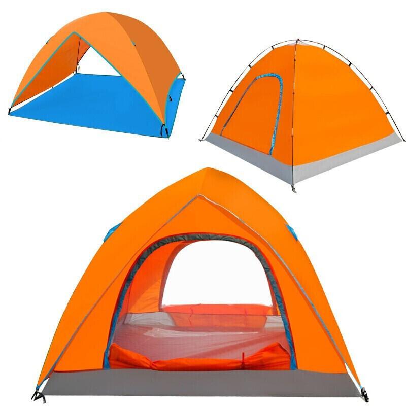 【赠运费险】户外帐篷3-4双层防风露营帐篷湖畔橙色