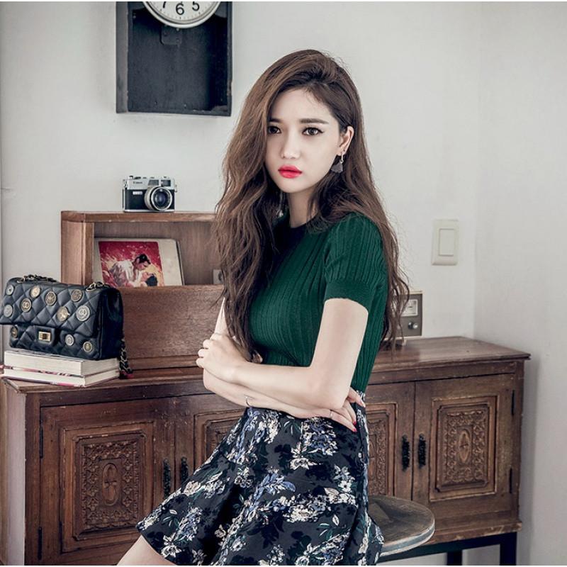 夏季针织短袖女薄款韩版半高领打底修身显瘦针织衫套头紧身t恤