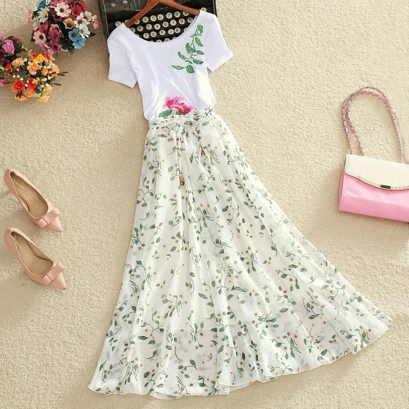 雪纺印花大摆裙夏季碎花沙滩裙子 飘逸仙女裙 修身显瘦长裙半身裙图片