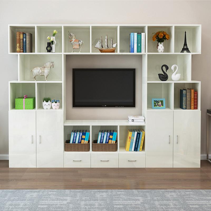 客廳高柜儲物柜子現代簡約小戶型多功能電視背景墻柜電視柜組合墻