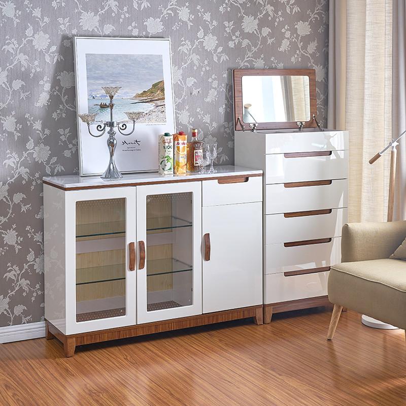 北欧餐厅柜子欧式大理石餐边柜现代简约实木茶水柜碗柜酒柜厨房柜图片