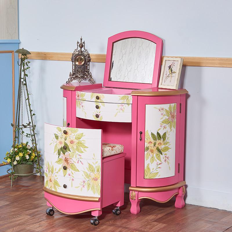 臥室彩繪小戶型翻蓋梳妝臺粉色現代迷你單人公主歐式化妝桌