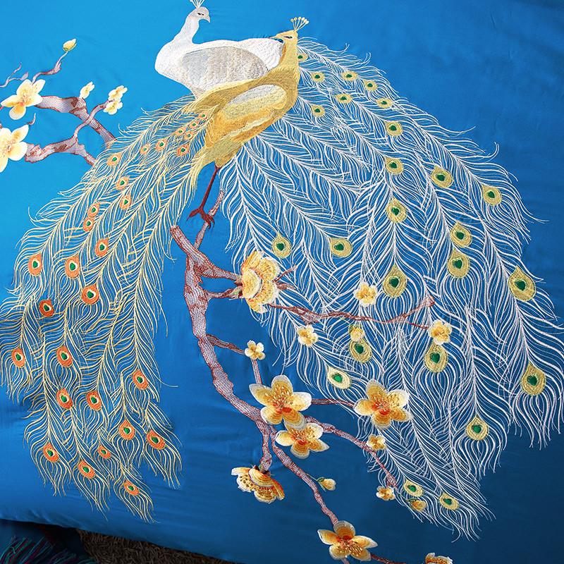 中式高档古典宫廷纯棉绣花凤凰刺绣被套全棉四件套结婚庆床上用品