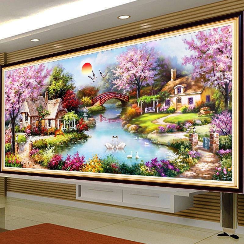 线绣 新款印花十字绣欧式花园山水风景画十字绣客厅大幅简约现代