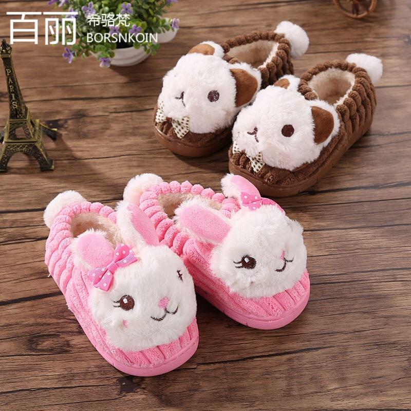 百丽希骆梵秋冬季拖鞋冬卡通动物可爱棉鞋儿童防滑厚底包跟宝宝保暖