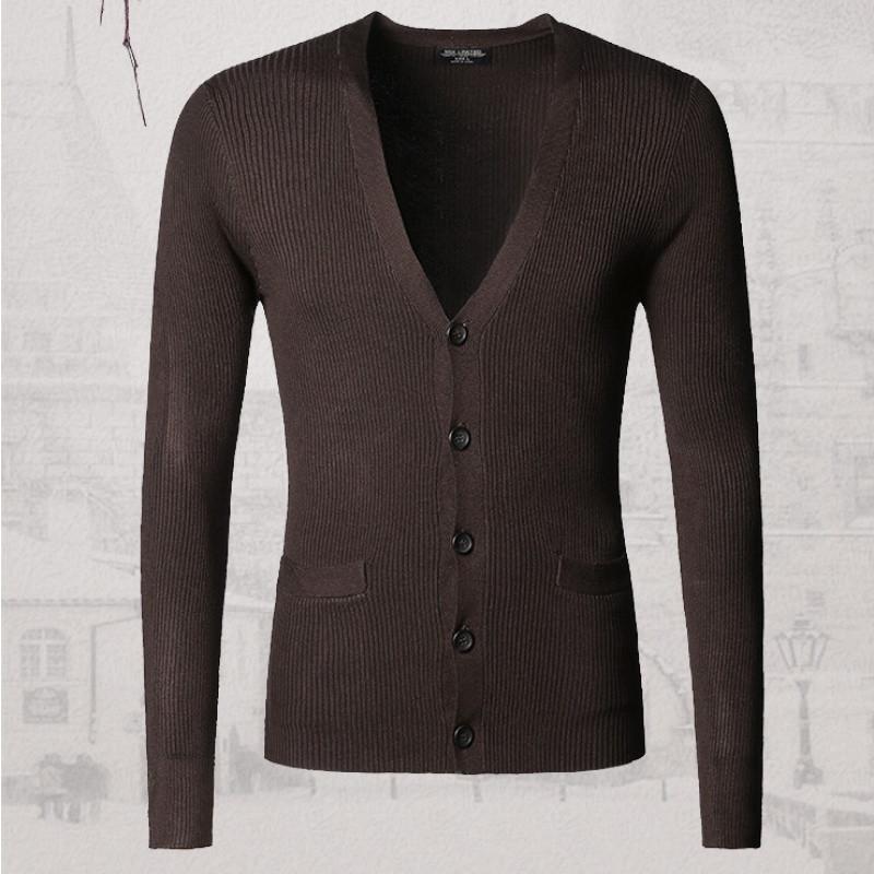 新款秋装新款纯棉弹力 男款修身针织衫开衫 基本款男士开衫毛衣j542