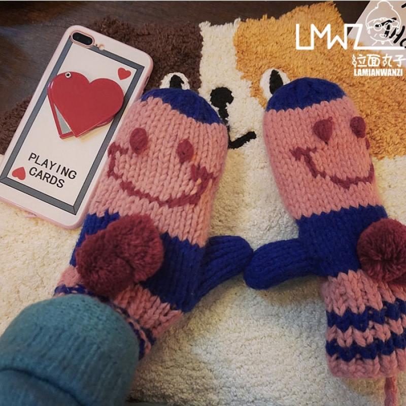 新款韩版冬季保暖手套女学生加绒加厚可爱全包指针织骑车挂脖毛线手套