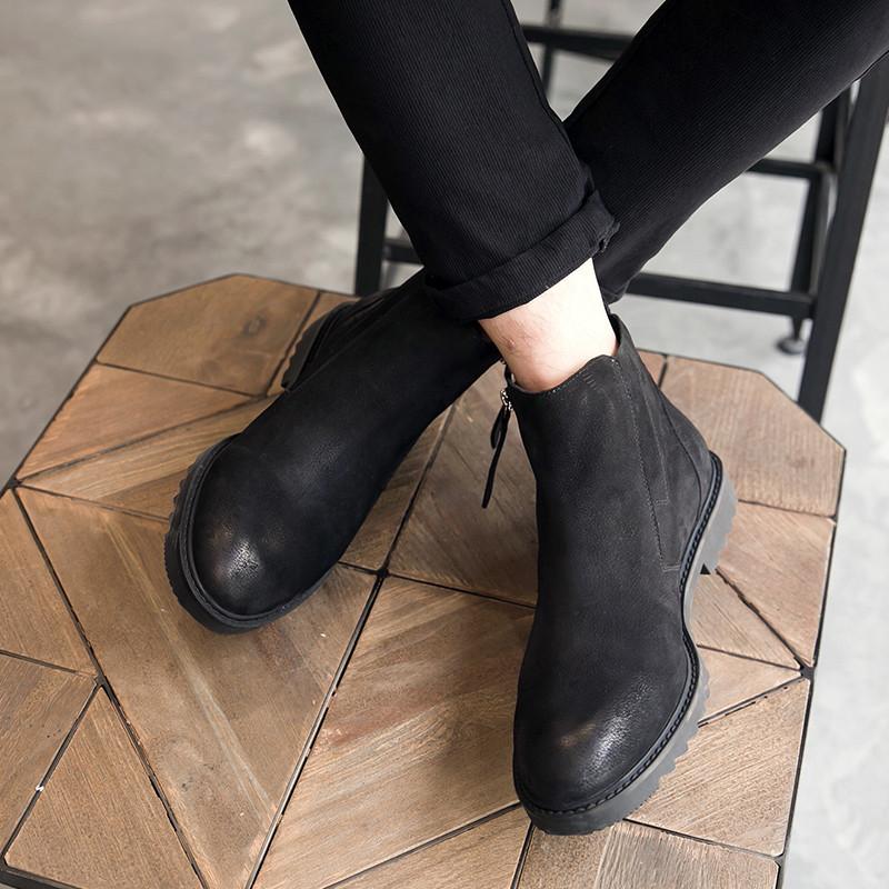 新款冬季复古马丁靴男潮真皮短靴英伦男士高帮皮鞋韩版潮流切尔西男靴