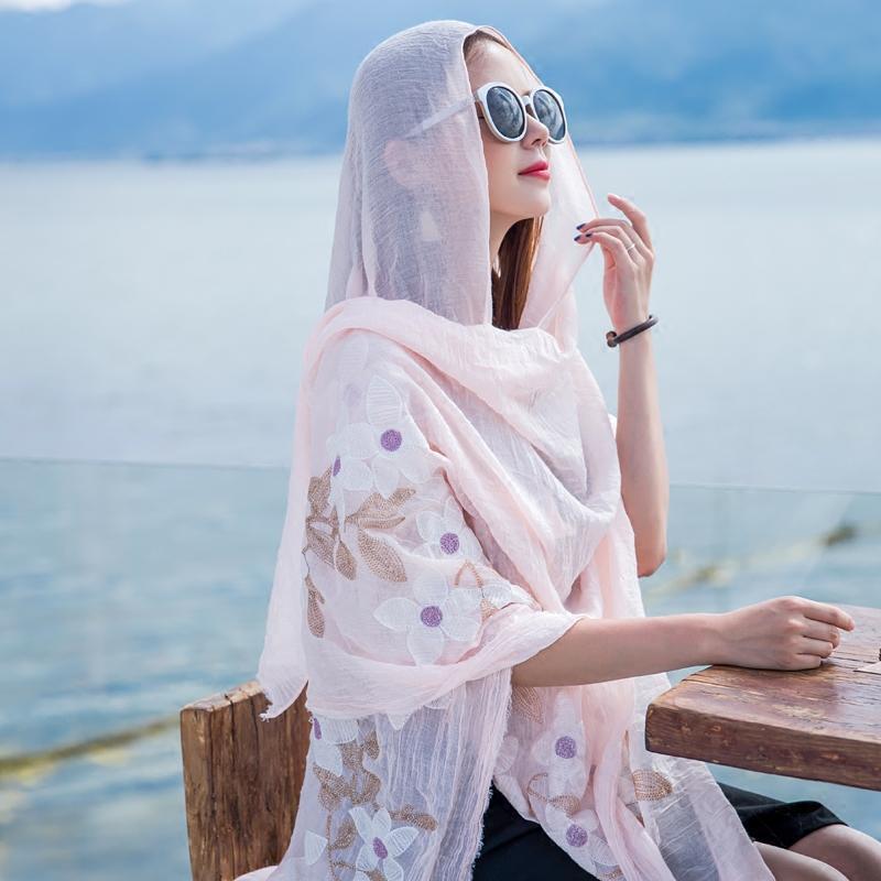 新款丝巾女夏季新款百搭2017超大海边防晒沙滩巾出游拍照围巾披肩两用