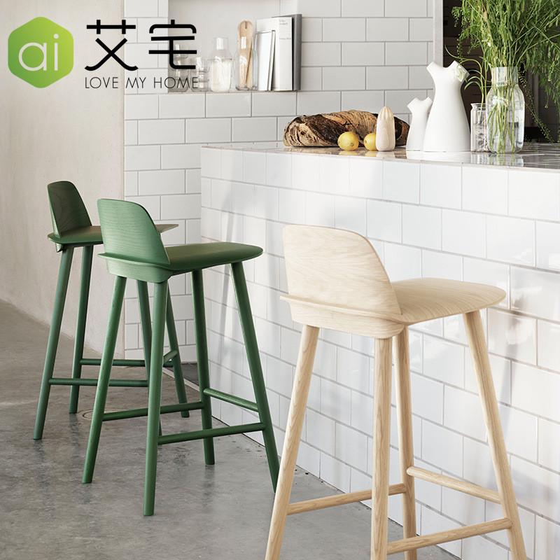 北欧实木吧椅 休闲吧台椅高脚凳简约时尚咖啡厅酒吧椅子