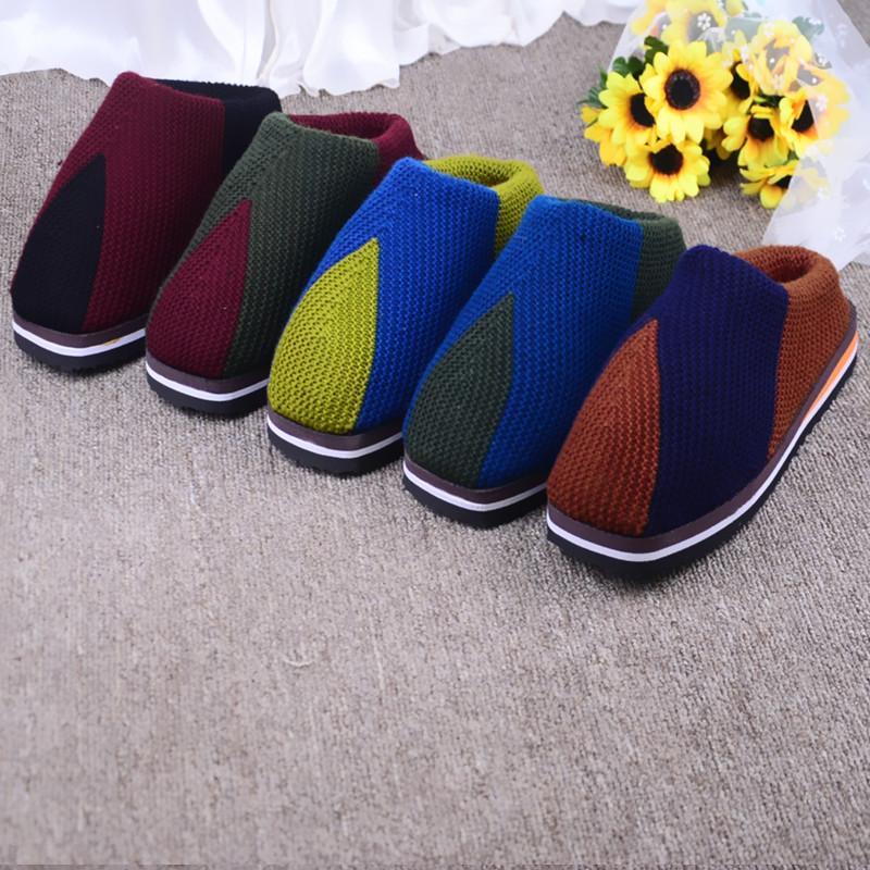 纯手工毛线编织毛线鞋平底棉拖鞋保暖居家秋冬季棉鞋男女编织棉靴