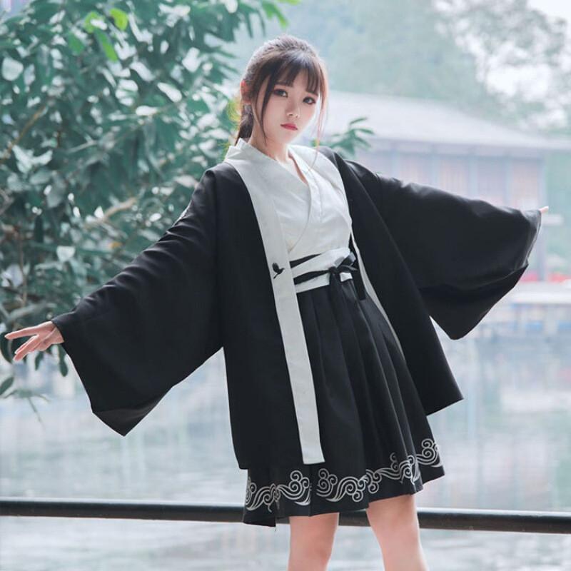 日系和风印花仙鹤浴衣羽织外套 连衣裙两件套装女开衫