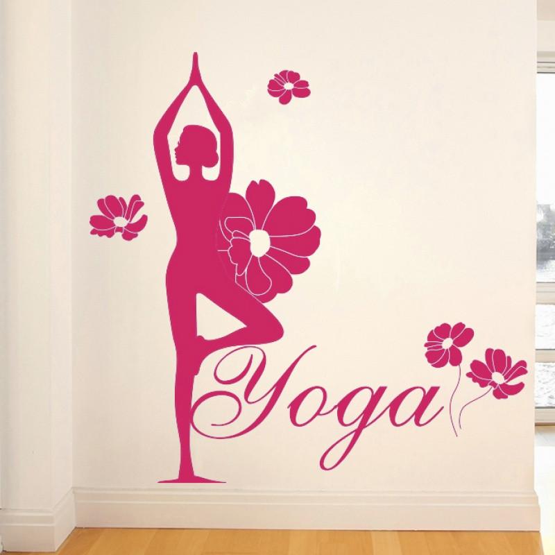 墙贴纸贴画瑜伽养生馆人物墙壁装饰品卧室健身房舞蹈房练舞房教室图片