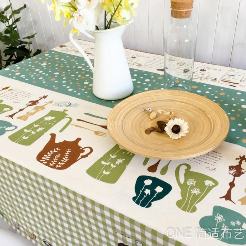 韩式棉麻小清新桌布布艺卡通餐桌布茶几垫长方形台布桌垫