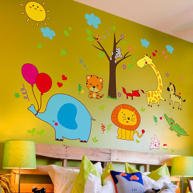 卡通儿童墙贴纸贴画树枝上的动物墙画幼儿园男孩房间墙面装饰墙纸