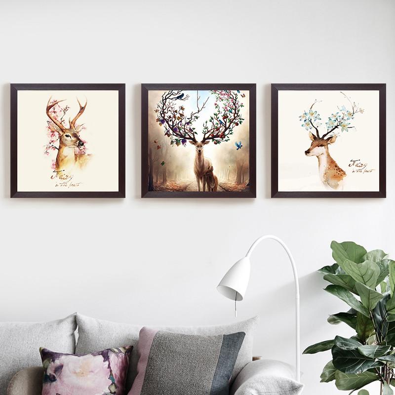 客厅装饰画现代风景有框画卧室大气沙发背景墙壁挂画抽象画三联画