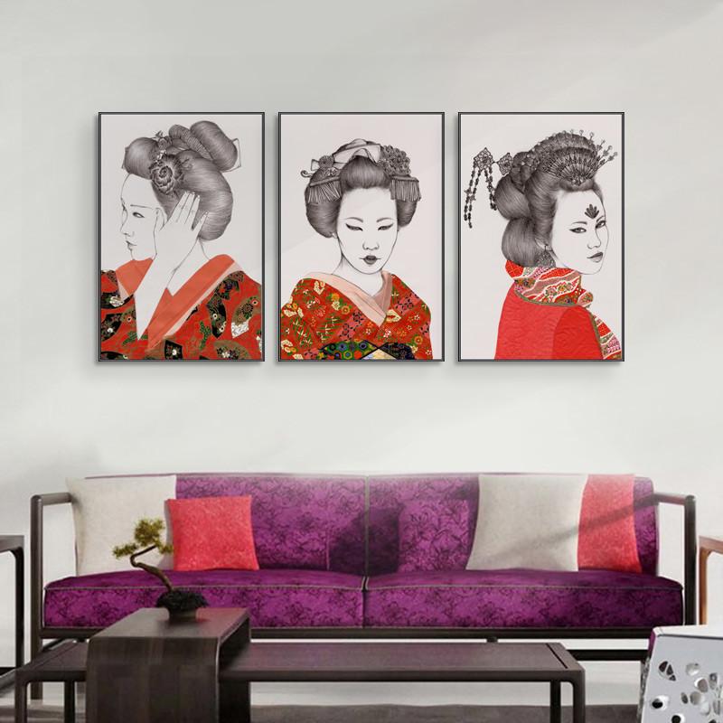 美人面 日式客廳裝飾畫餐廳掛畫臥室玄關走廊墻壁畫