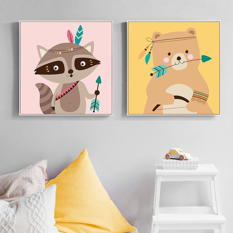 现代简约可爱卡通动物装饰画儿童房床头挂画