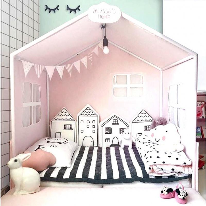 北歐可愛小房子嬰幼兒童房床圍軟包防撞頭保護安全靠墊墻壁裝飾