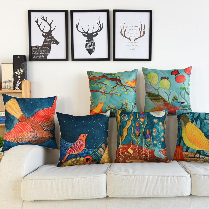 画作靠枕沙发抱枕含芯复古美式亚麻汽车艺术靠垫腰枕棉麻小鸟客厅比亚迪元ev360有人买吗图片