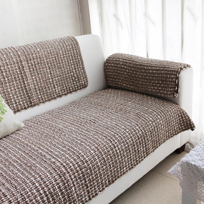 简约现代北欧手工编织加厚沙发垫沙发毯扶手靠背巾棉线防滑格子