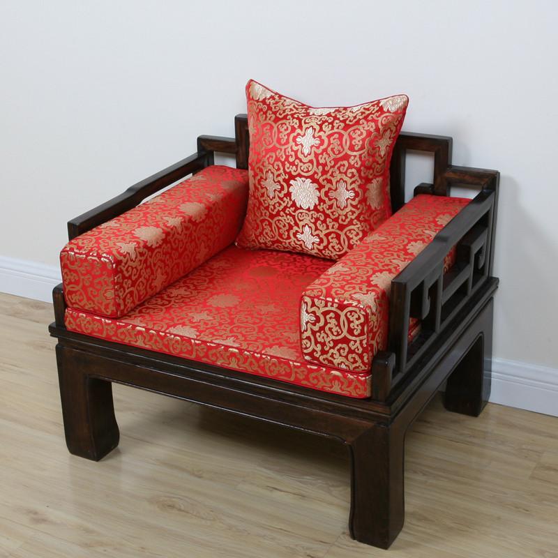 定做可拆洗实木中式家具坐垫情人椅靠垫红木沙发垫罗汉床餐椅垫子