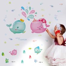 卡通儿童房动物墙贴海底海洋墙贴幼儿园装饰贴纸卧室鲸鱼小情侣 鲸鱼图片