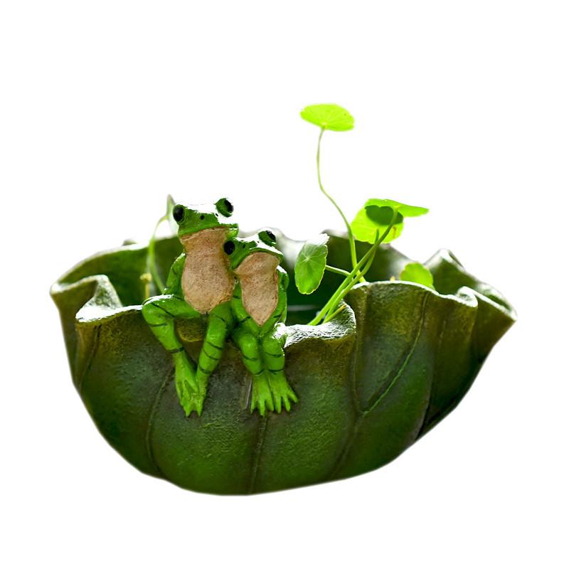 创意铜钱草水培动物树脂花盆复古多肉植物盆栽景室内阳台花园摆件