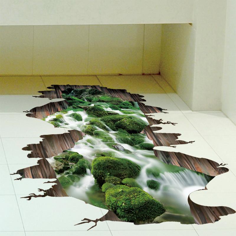 3d立体感墙贴纸贴画客厅厨房地板地贴溪流河流山水风景画防水自粘