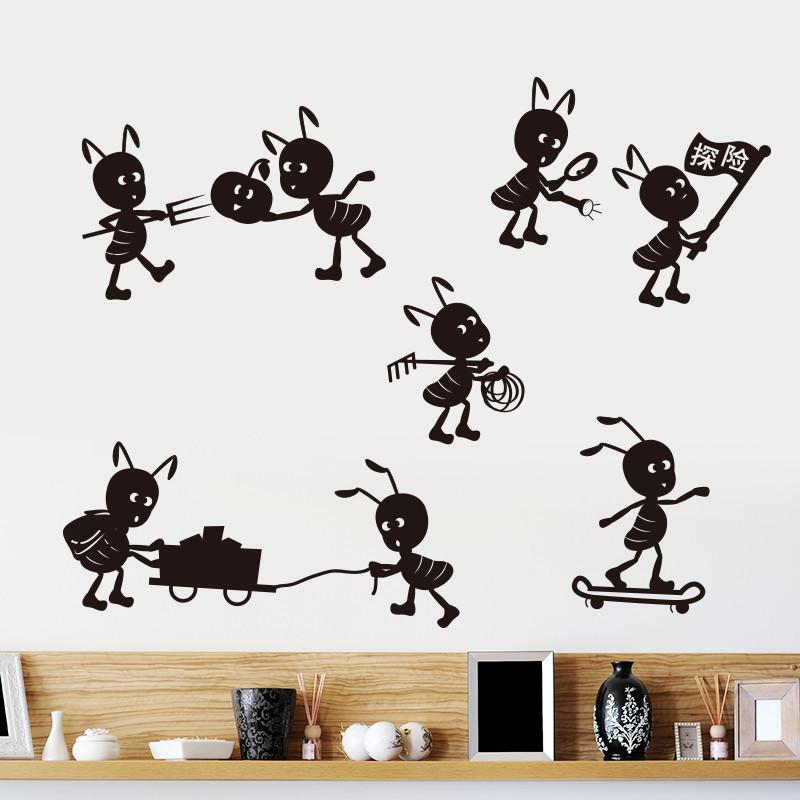 墙贴纸贴画儿童房间幼儿园卡通可爱墙壁装饰黑色蚂蚁搬家探险动物