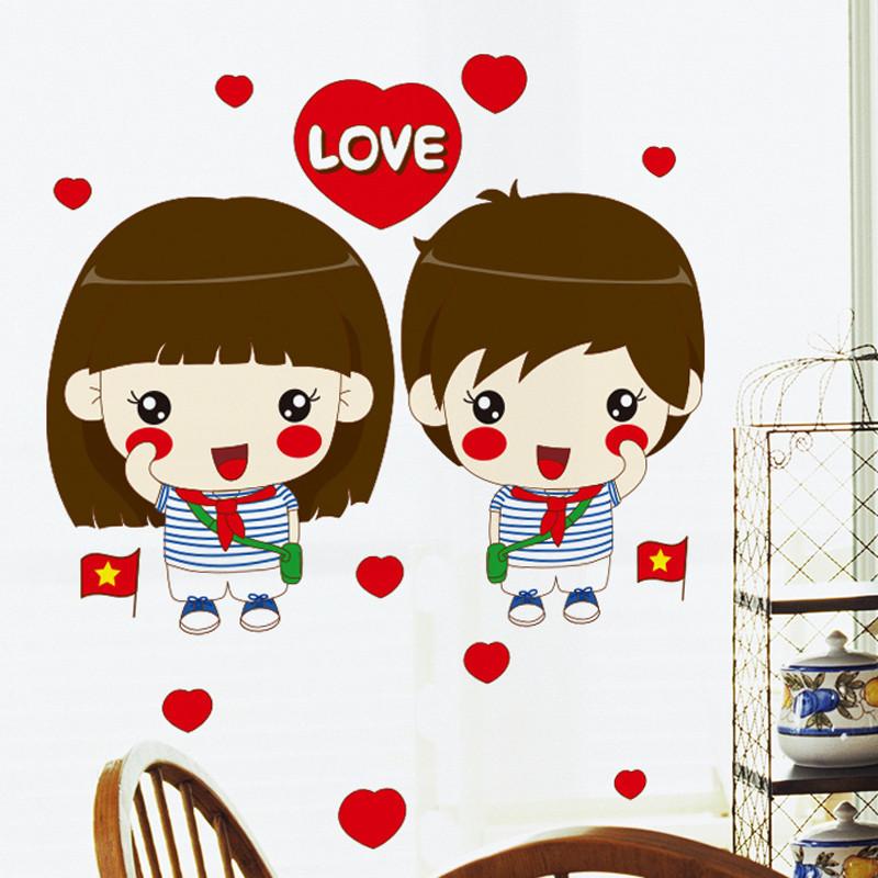 爱情浪漫温馨情侣墙贴纸可爱卡通人物头像贴画宿舍寝室怀旧红领巾
