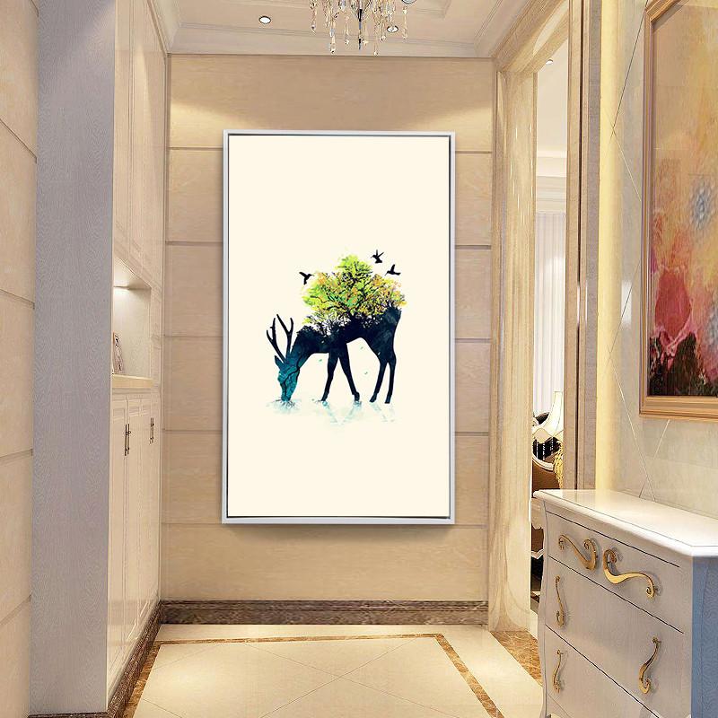 玄关装饰画竖版过道北欧客厅壁画鹿简欧麋鹿墙画现代简约走廊挂画图片