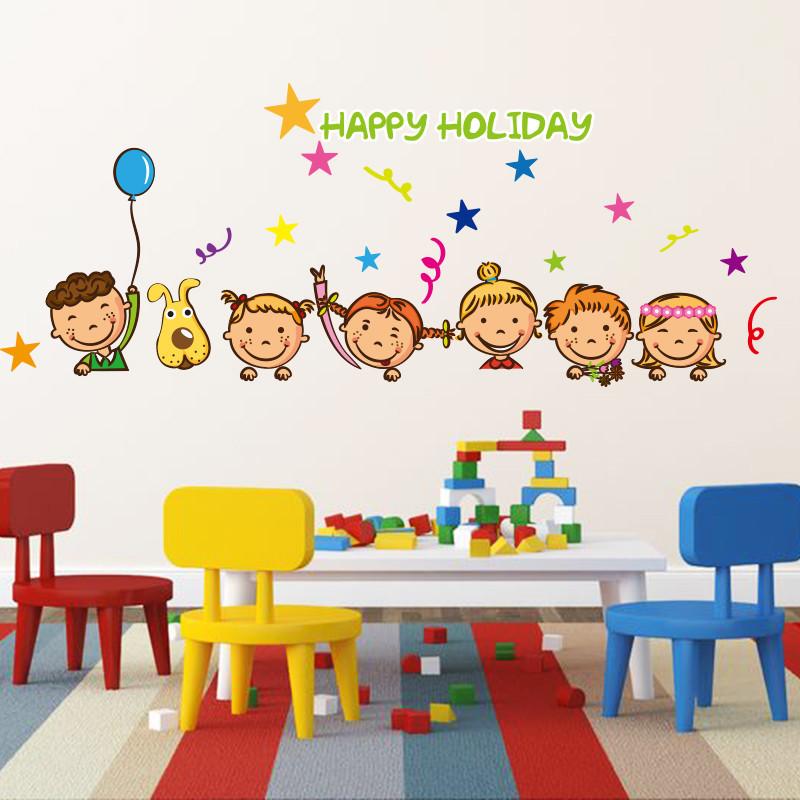 可移除卡通动漫可爱人物头像贴画墙贴纸幼儿园墙壁装饰布置q版韩